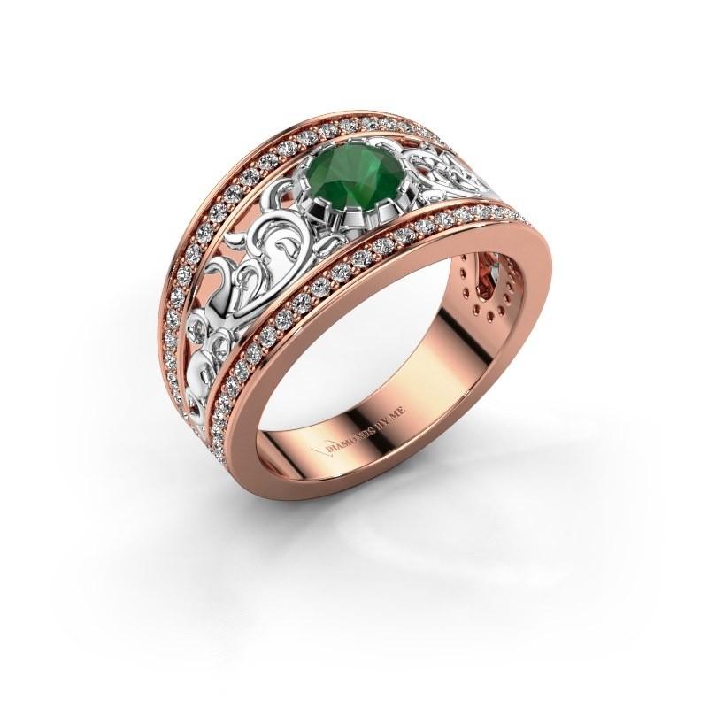 Ring Marilee 585 rosé goud smaragd 5 mm