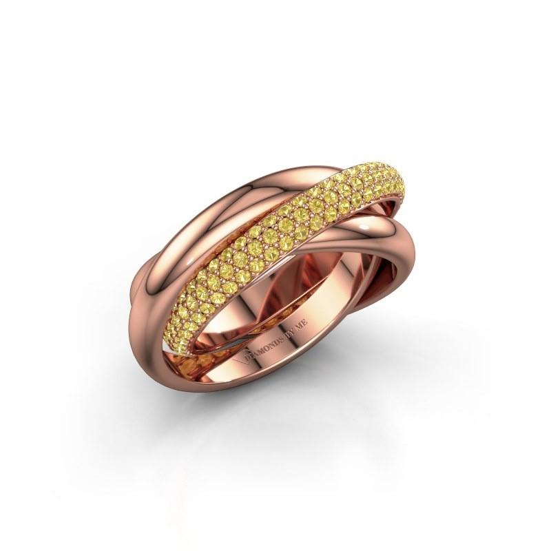 Ring Helena 2 585 rosé goud gele saffier 1 mm