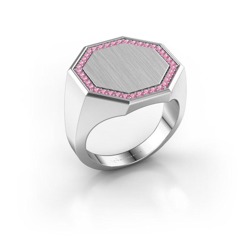 Heren ring Floris Octa 4 925 zilver roze saffier 1.2 mm