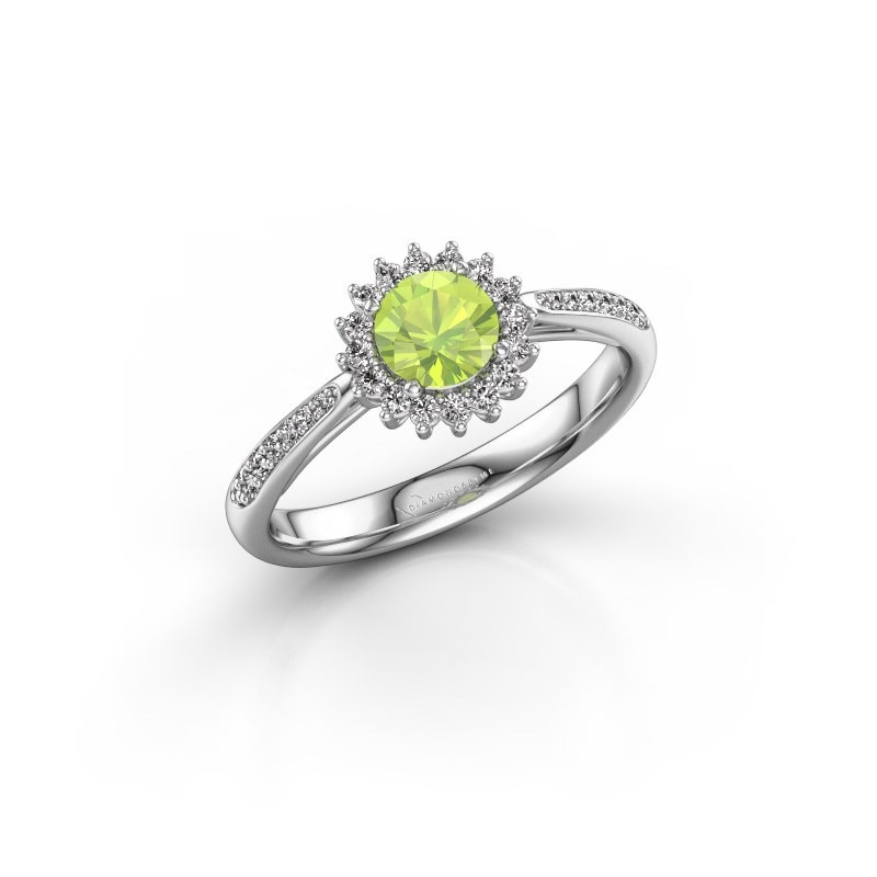 Engagement ring Tilly RND 2 585 white gold peridot 5 mm