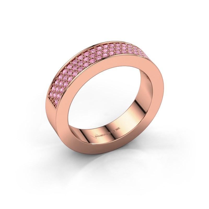 Ring Lindsey 2 585 rosé goud roze saffier 1.1 mm