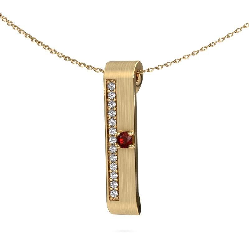 Halsketting Vicki 375 goud granaat 3 mm