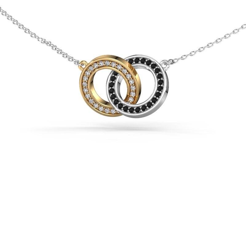 Halsketting Circles 2 585 goud zwarte diamant 0.275 crt