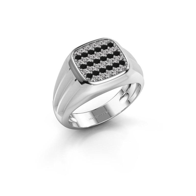 Pinky ring Robbert 375 white gold black diamond 0.610 crt