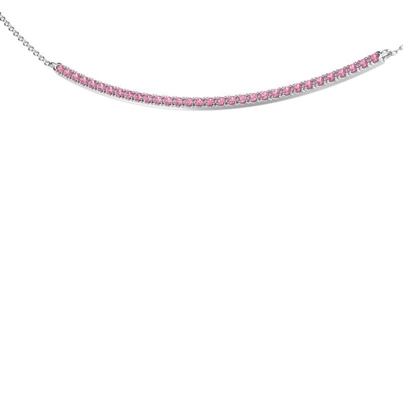 Bar ketting Simona 925 zilver roze saffier 1.5 mm