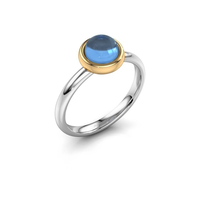 Ring Blossom 585 witgoud blauw topaas 6 mm