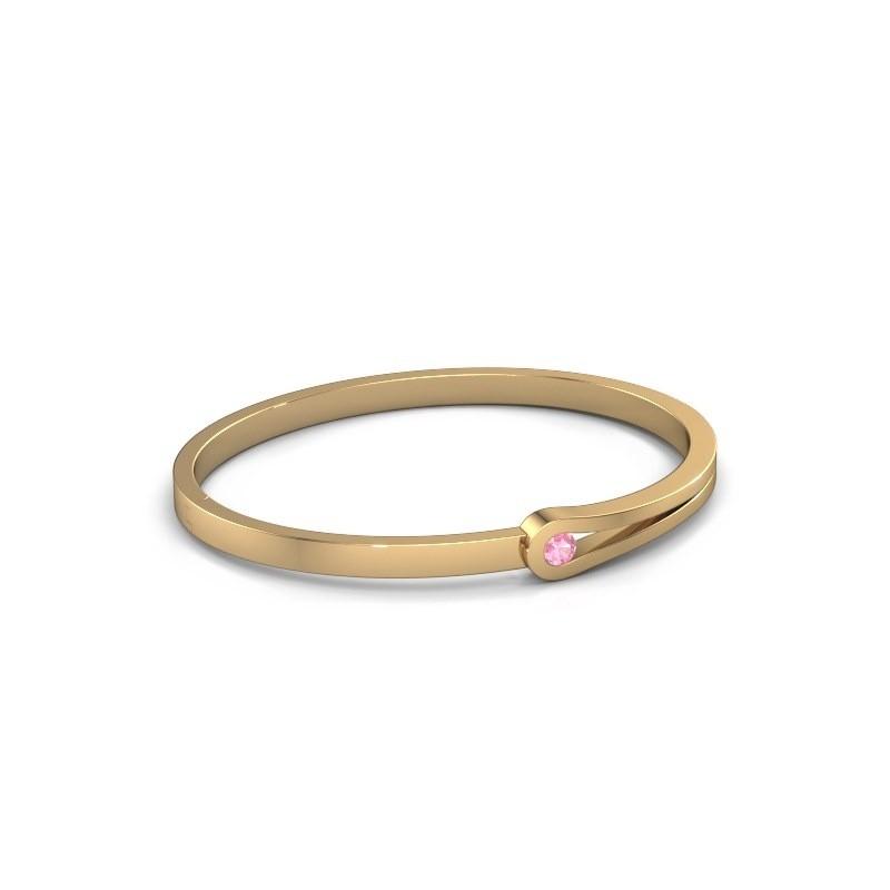Bracelet jonc Kiki 585 or jaune saphir rose 4 mm