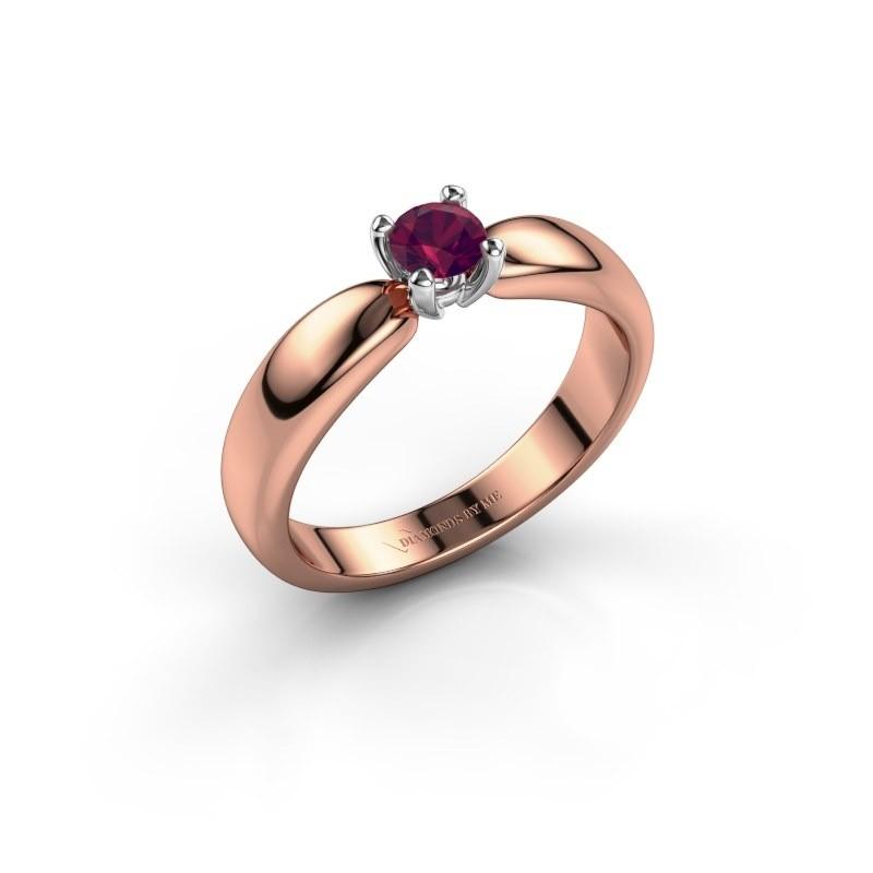 Promise ring Katrijn 585 rosé goud rhodoliet 4.2 mm