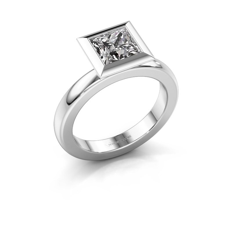 Stapelring Trudy Square 925 zilver zirkonia 6 mm