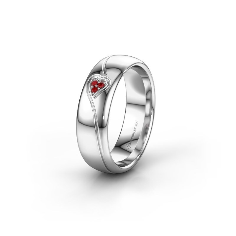 Wedding ring WH0168L36AP 950 platinum ruby ±0.24x0.07 in