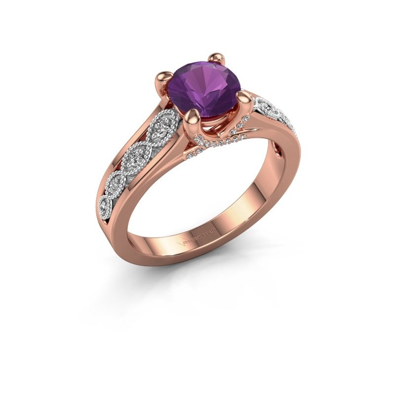 Engagement ring Clarine 585 rose gold amethyst 6.5 mm