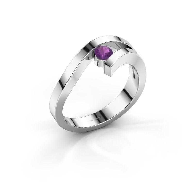 Ring Evalyn 1 585 witgoud amethist 3.7 mm