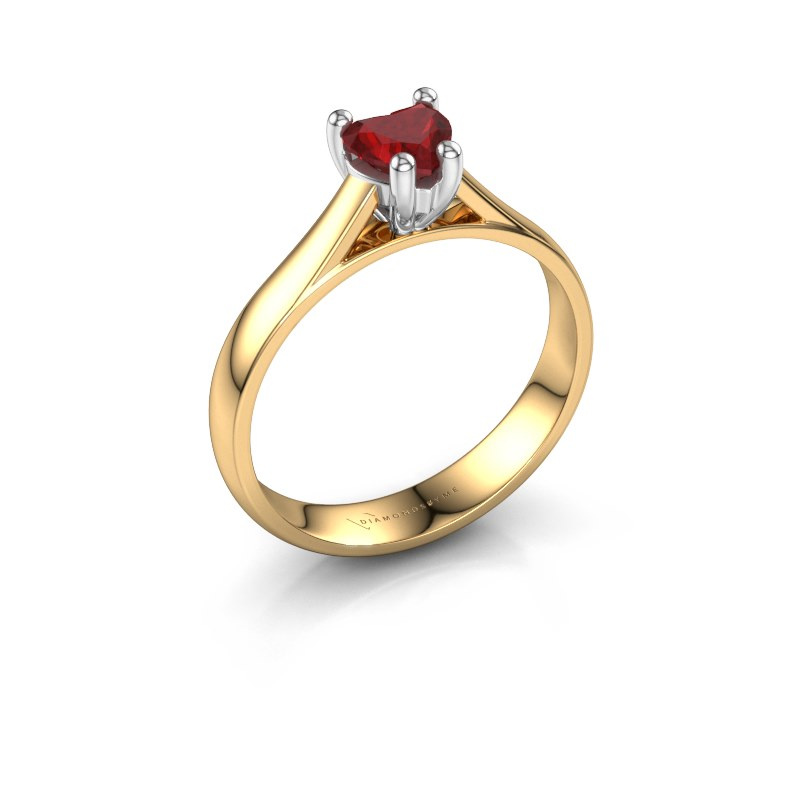 Engagement ring Sam Heart 585 gold ruby 5 mm