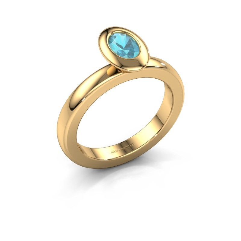 Steckring Trudy Oval 585 Gold Blau Topas 6x4 mm