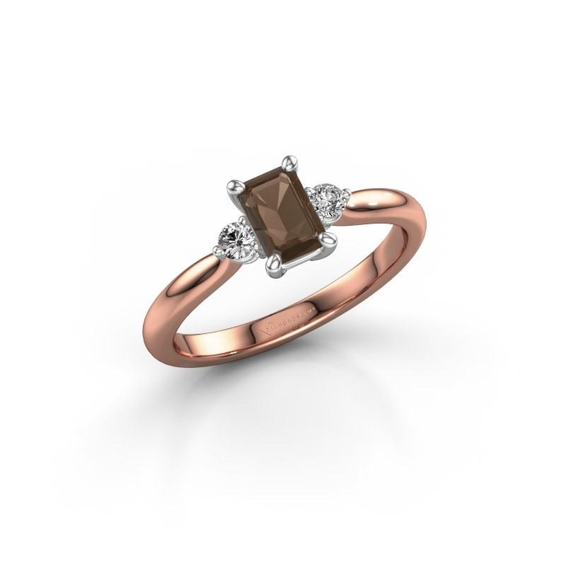 Verlovingsring Lieselot EME 585 rosé goud rookkwarts 6x4 mm