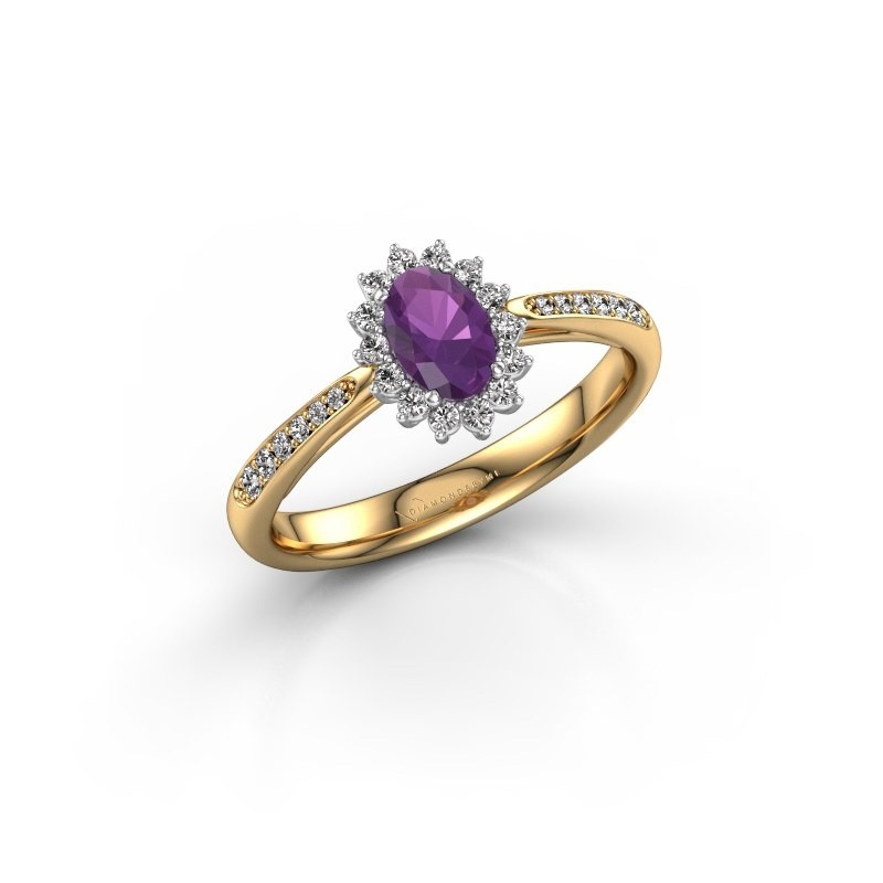 Engagement ring Tilly ovl 2 585 gold amethyst 6x4 mm