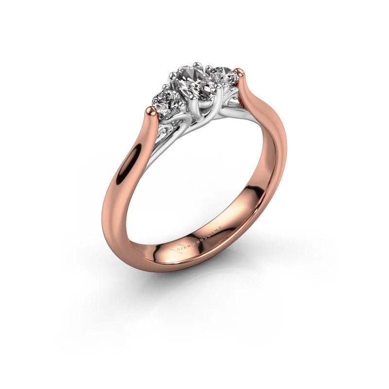 Bague de fiançailles Jente OVL 585 or rose diamant 0.39 crt
