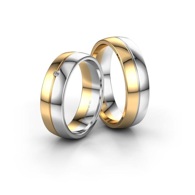 Trouwringen Set Wh0201lm26ap 6x1 7 Mm 14 Karaat Goud Diamant 0 03 Crt