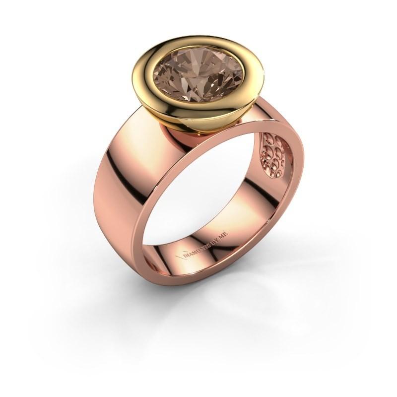 Bague Maxime 585 or rose diamant brun 2.00 crt