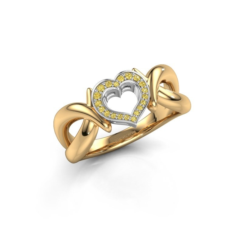 Ring Earlie 1 585 goud gele saffier 1.1 mm
