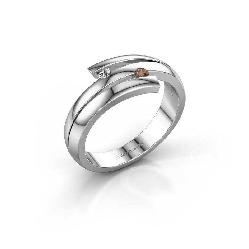 Ring Dena 585 witgoud bruine diamant 0.06 crt