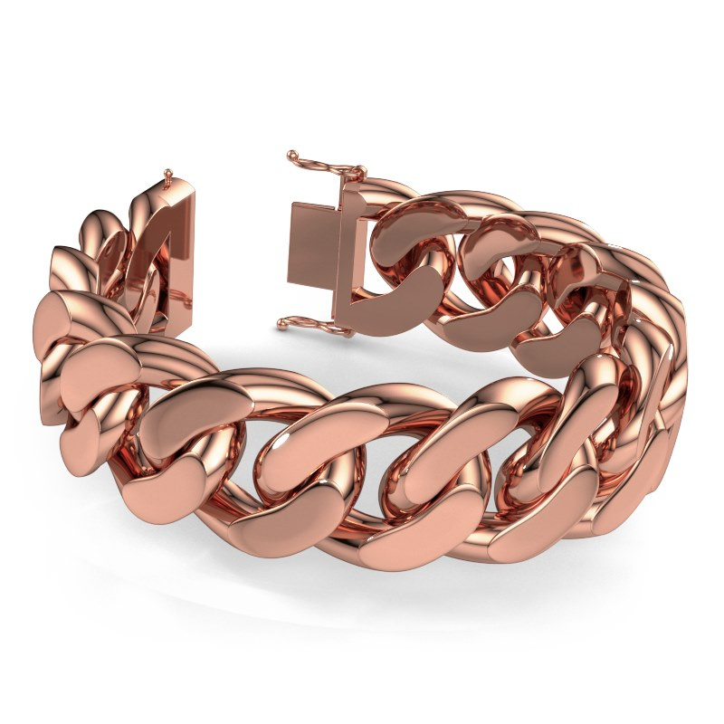 Cuban link armband ±25 mm 375 rosé goud