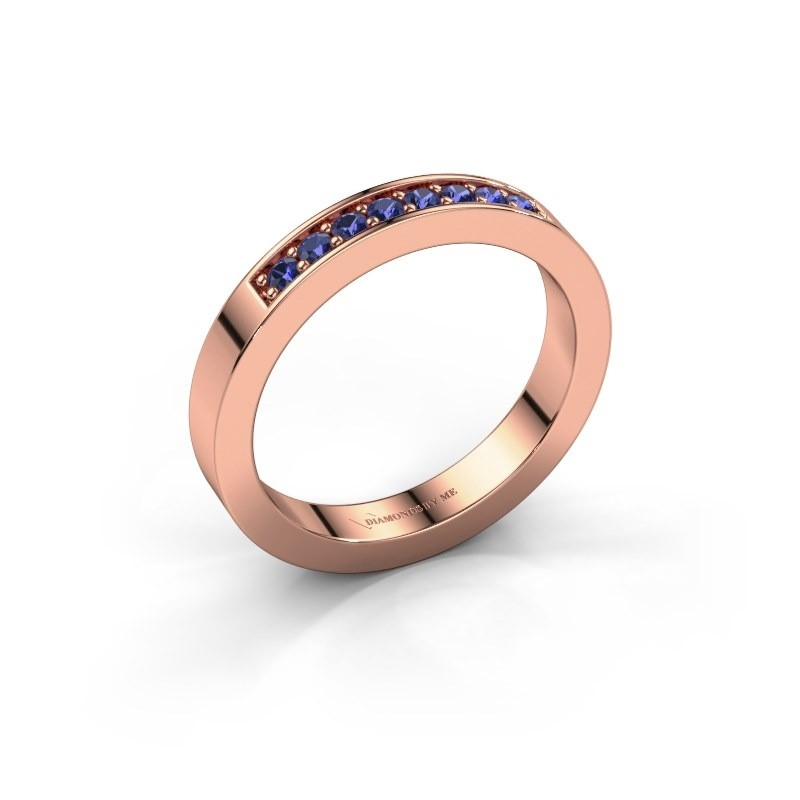 Stackable ring Loes 5 375 rose gold sapphire 1.7 mm