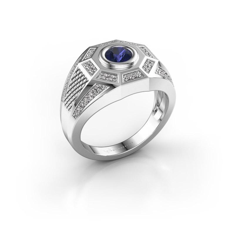 Heren ring Enzo 375 witgoud saffier 5 mm