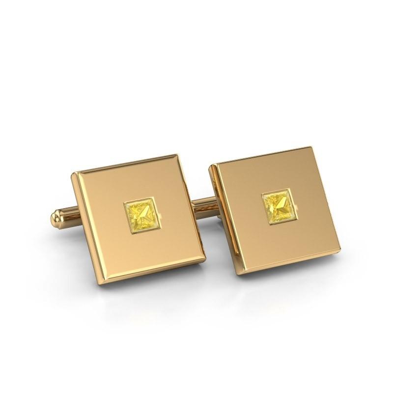 Cufflinks Givanti 585 gold yellow sapphire 4 mm