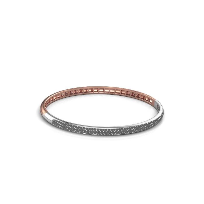 Slavenarmband Emely 4mm 585 rosé goud zwarte diamant 1.409 crt
