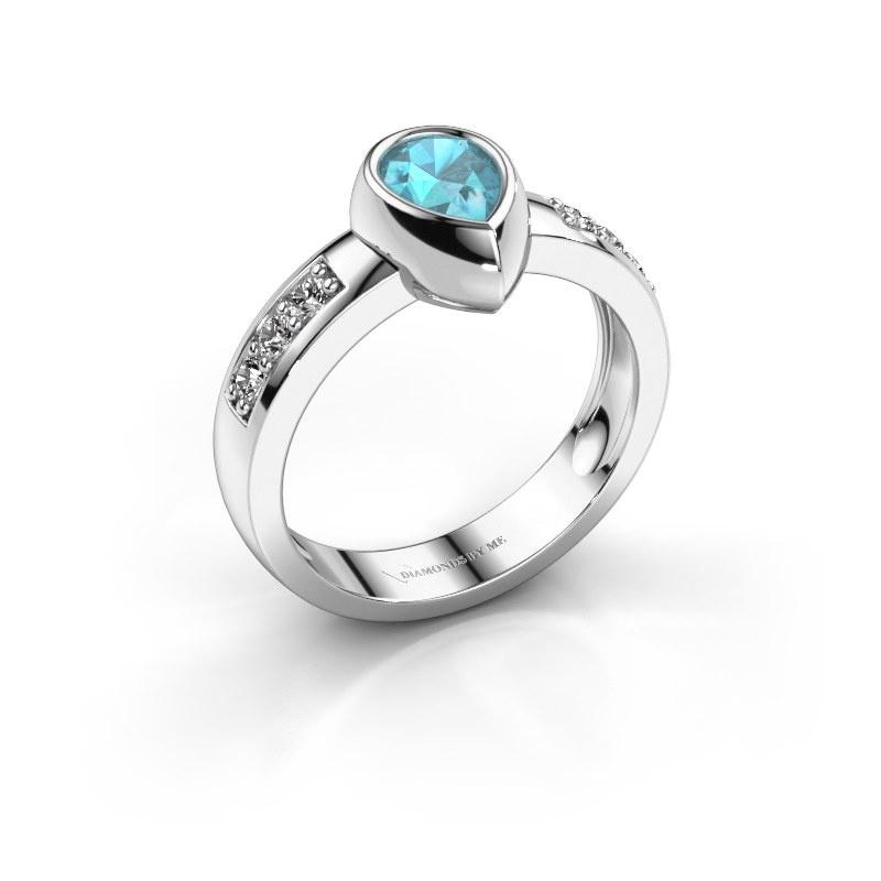 Ring Charlotte Pear 585 white gold blue topaz 8x5 mm