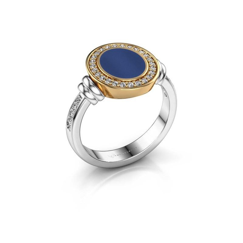 Signet ring Bailey 585 white gold lapis 10x8 mm