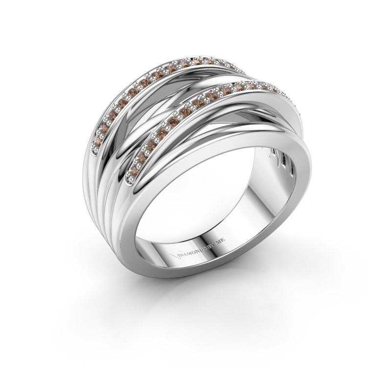 Ring Annabel 2 585 witgoud bruine diamant 0.24 crt