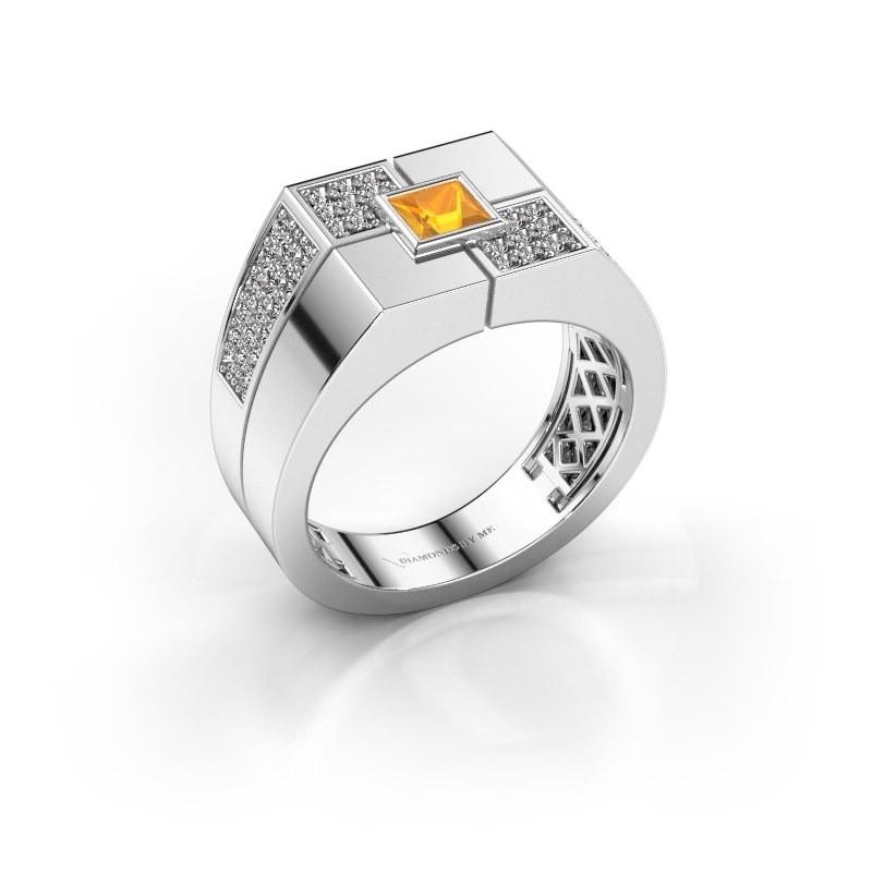 Men's ring Rogier 375 white gold citrin 4 mm