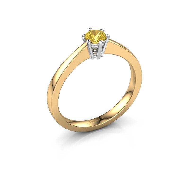 Verlobungsring Noortje 585 Gold Gelb Saphir 4 mm