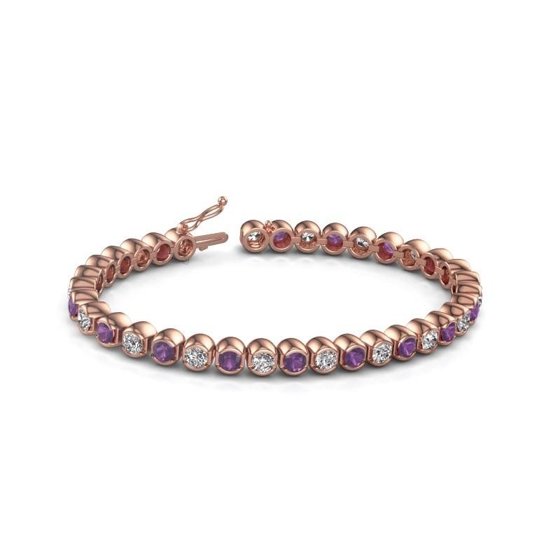 Tennis bracelet Bianca 375 rose gold amethyst 4 mm