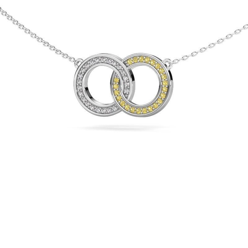 Ketting Circles 1 925 zilver gele saffier 1 mm