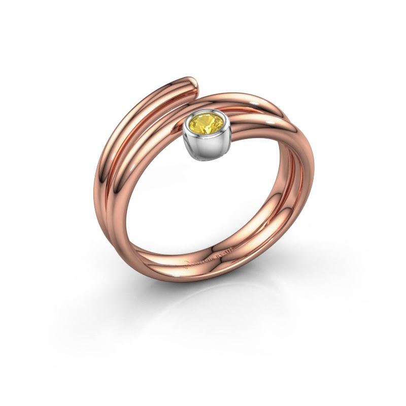 Ring Jenna 585 rosé goud gele saffier 3 mm