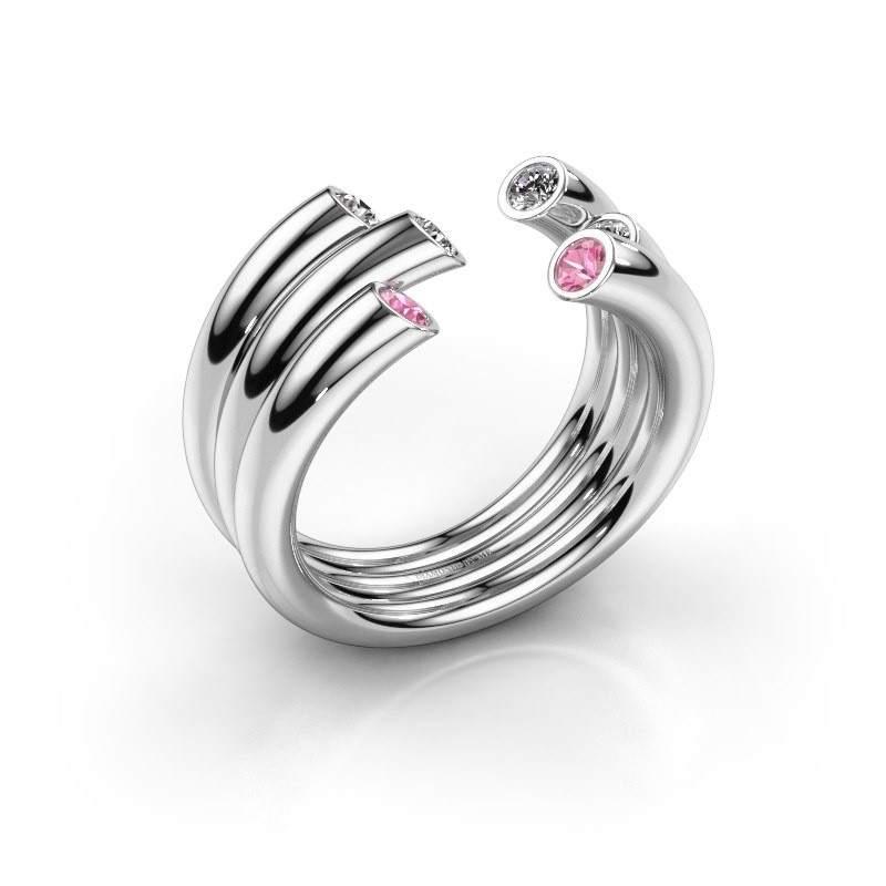 Ring Noelle 925 silver pink sapphire 2.4 mm