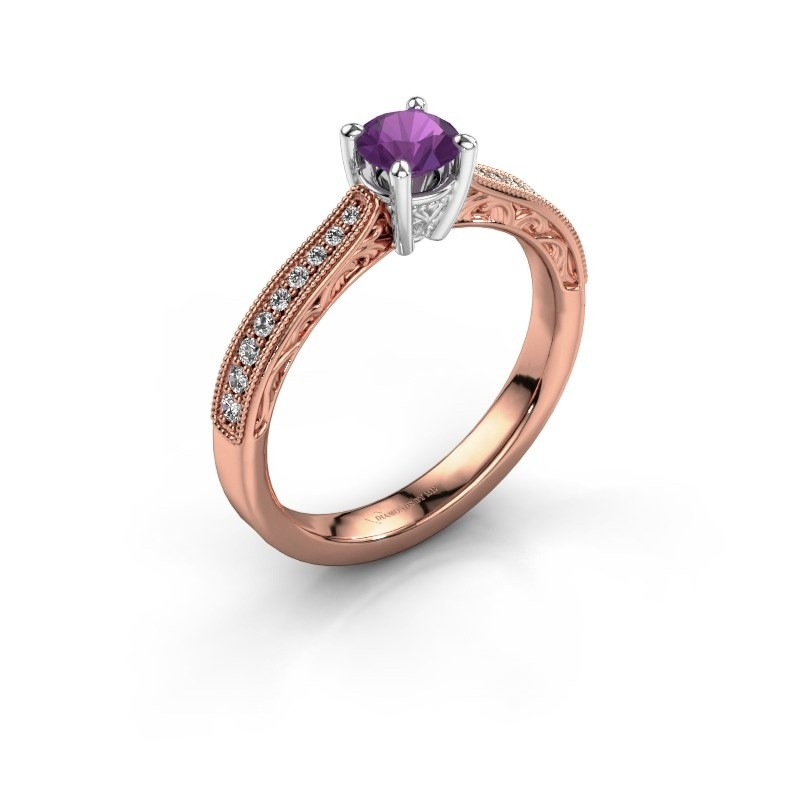 Belofte ring Shonta RND 585 rosé goud amethist 4.7 mm