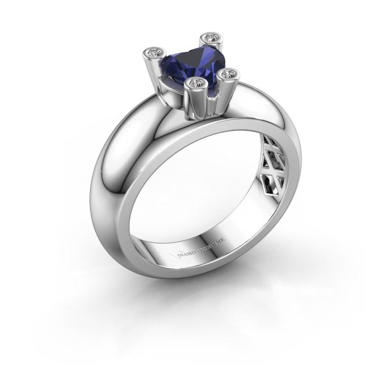 Ring Cornelia Heart 925 silver sapphire 6 mm