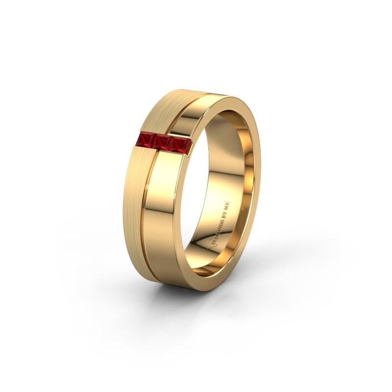 Wedding ring WH0906L16A 585 gold ruby ±0.24x0.07 in