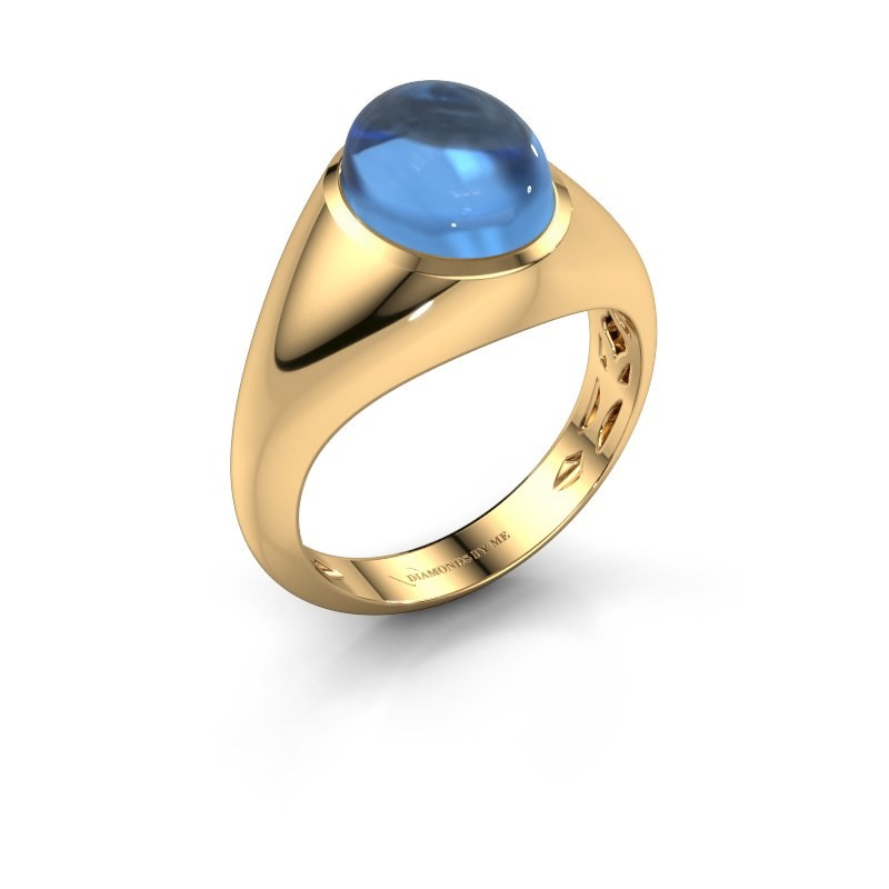 Ring Zaza 375 goud blauw topaas 10x8 mm
