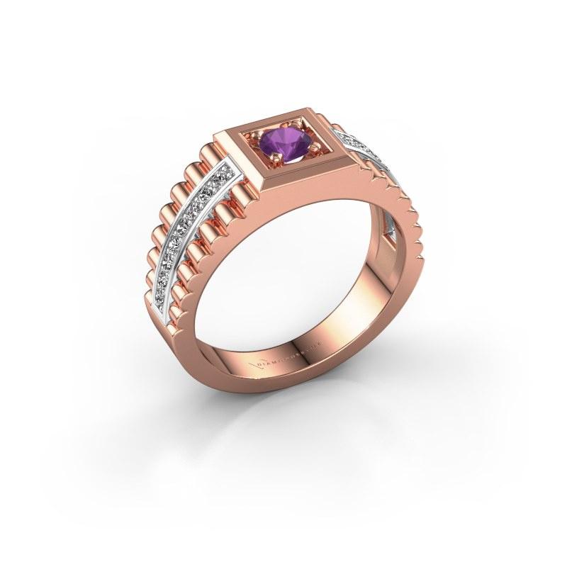 Men's ring Maikel 585 rose gold amethyst 4.2 mm