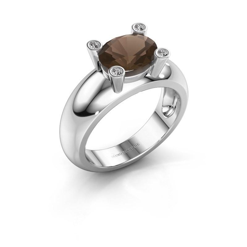Ring Tamara OVL 925 zilver rookkwarts 9x7 mm