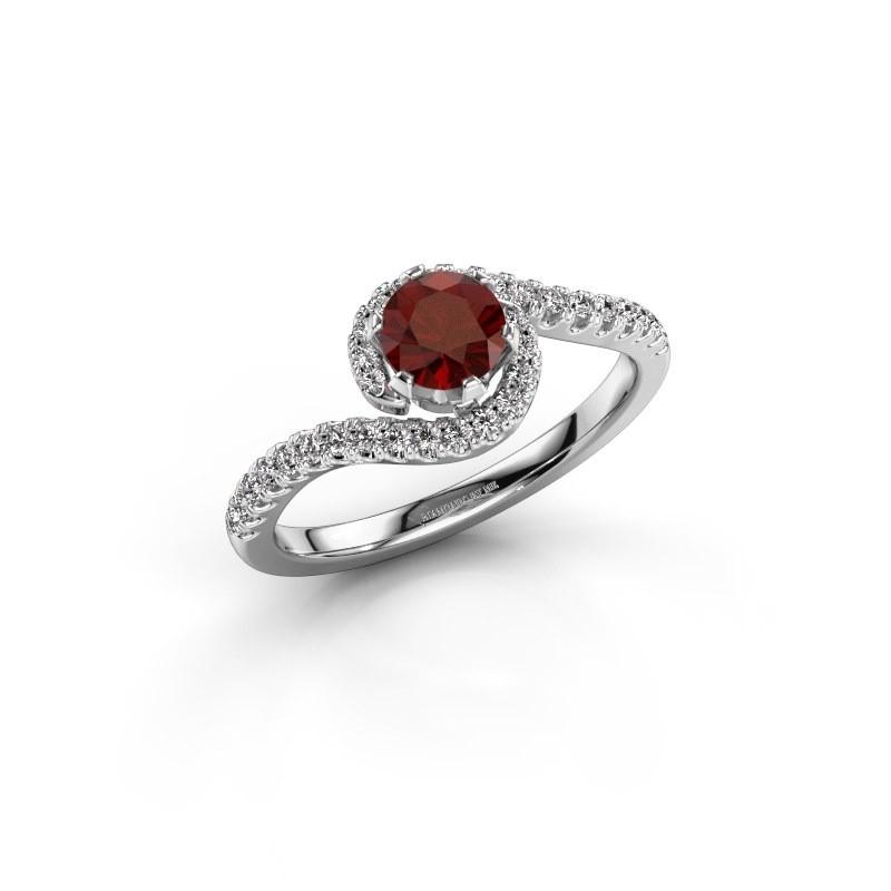 Engagement ring Elli 585 white gold garnet 5 mm