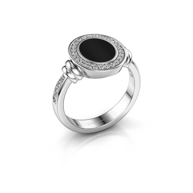 Signet ring Bailey 925 silver onyx 10x8 mm
