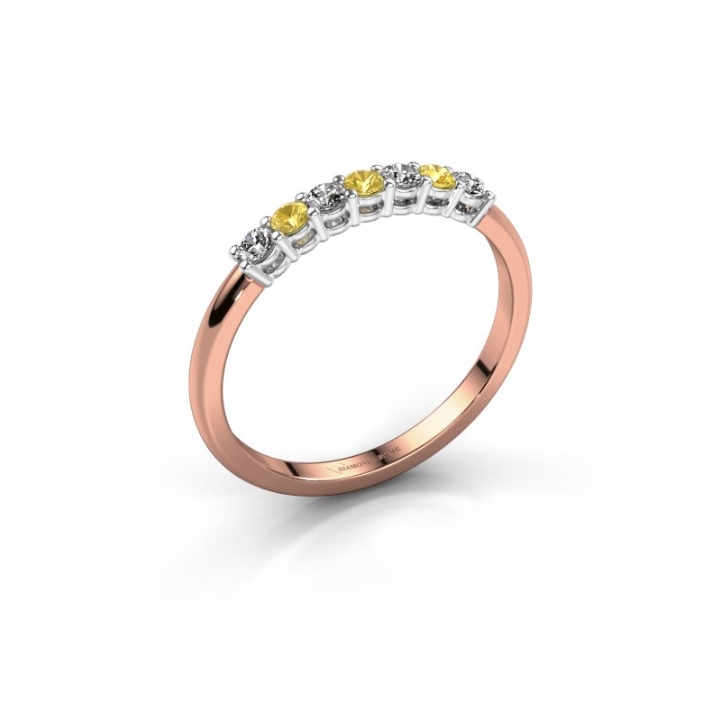Engagement ring Michelle 7 585 rose gold yellow sapphire 2 mm