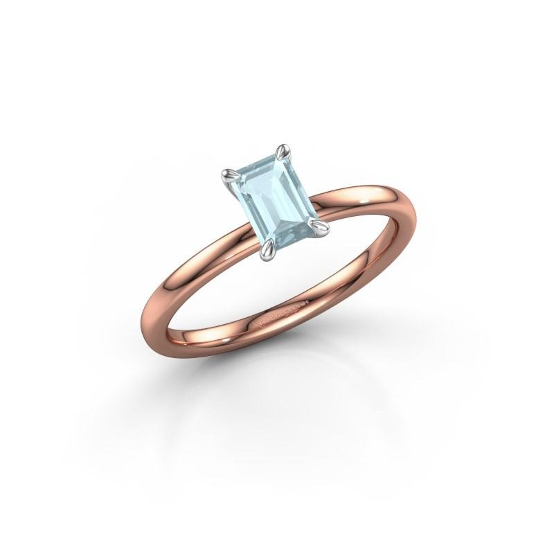 Verlovingsring Crystal EME 1 585 rosé goud aquamarijn 6x4 mm