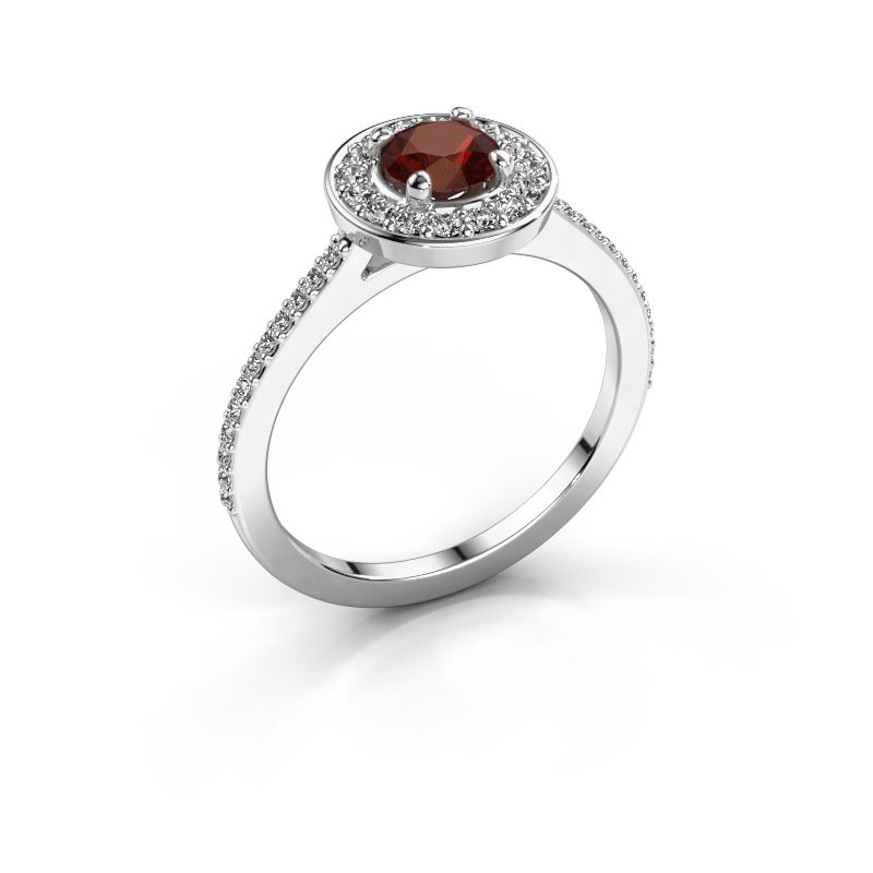 Ring Agaat 2 585 white gold garnet 5 mm